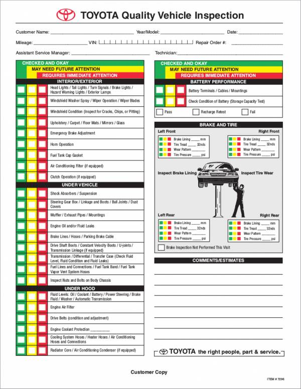 toyota quality vehicle inspection checklist template