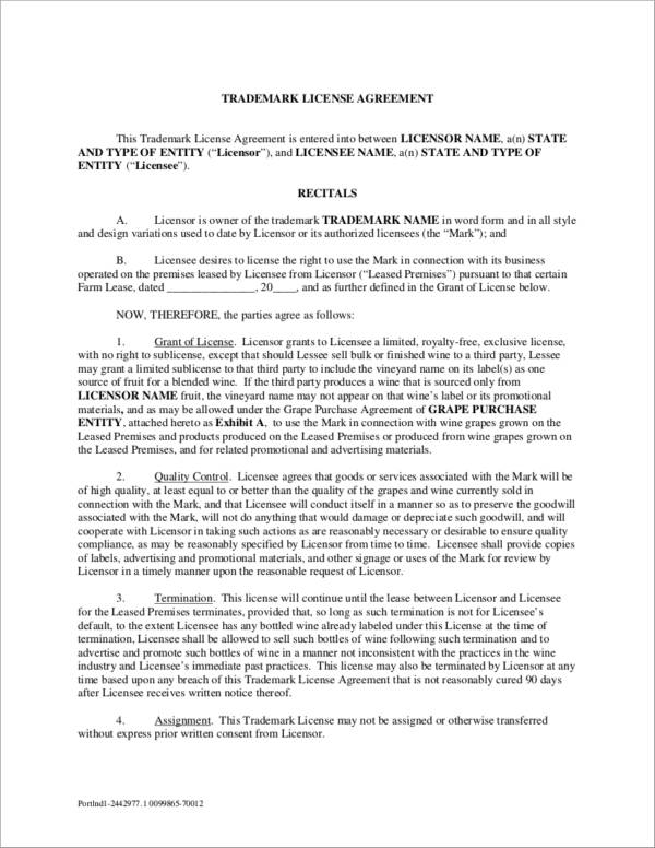 5 Trademark License Agreement Samples Templates Pdf