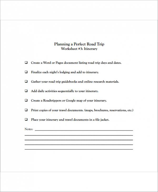 travel planner template for a perfect trip