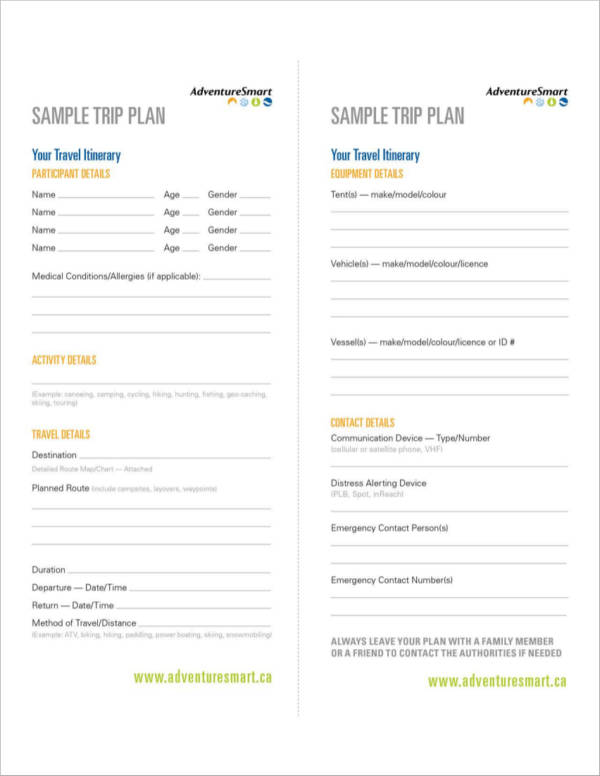 travel planner template in brochure form