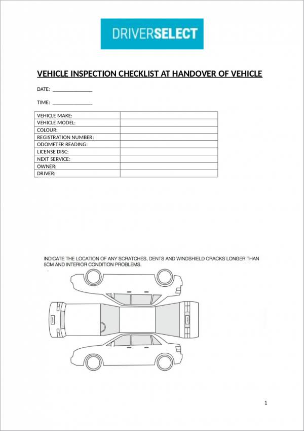 vehicle inspection checklist at handover of vehicle template