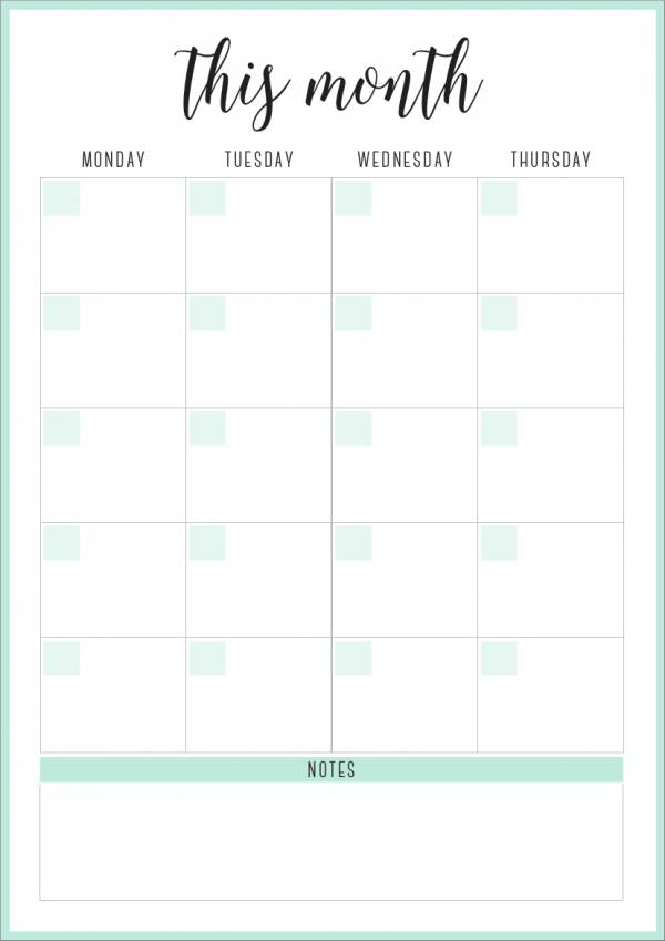 vertical monthly planner template