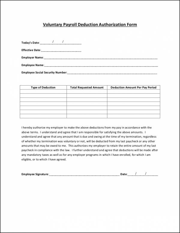 voluntary payroll deduction authorization form template