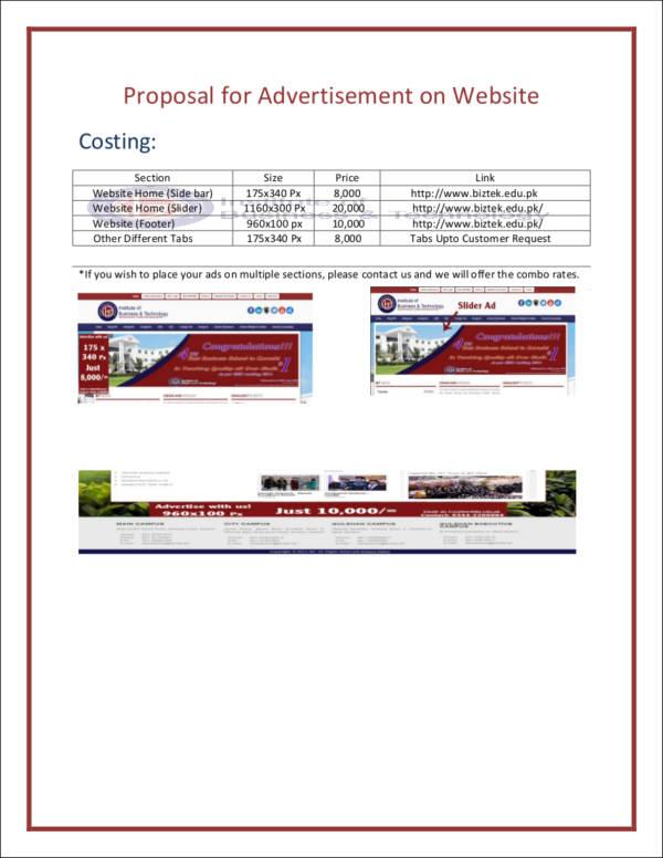 website advertising proposal sample