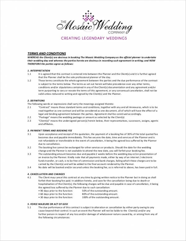 wedding planner terms and conditions template 5 wedding planner contract samples templates sample