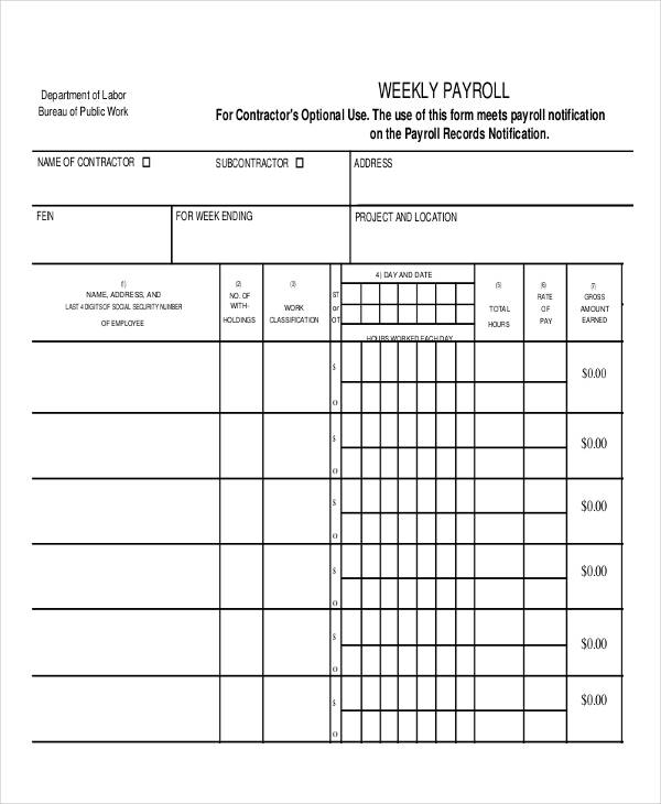 weekly employee payroll template