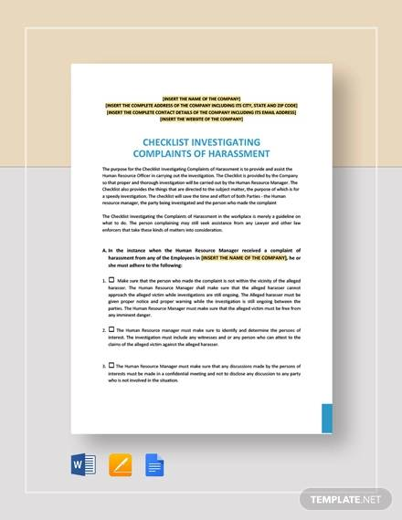 checklist investigating complaints of harrasment