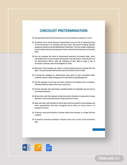 checklist pretermination