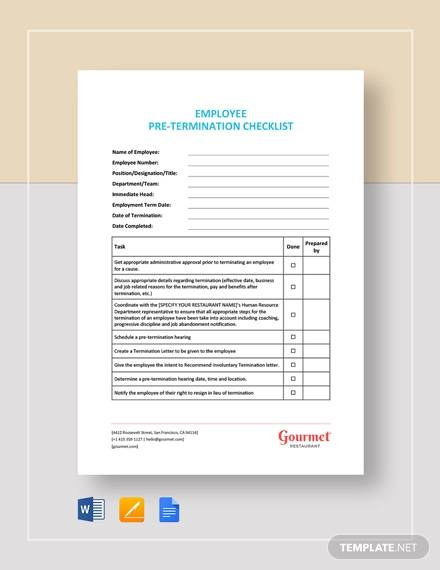 FREE 13+ Termination Checklist Samples & Templates in Word