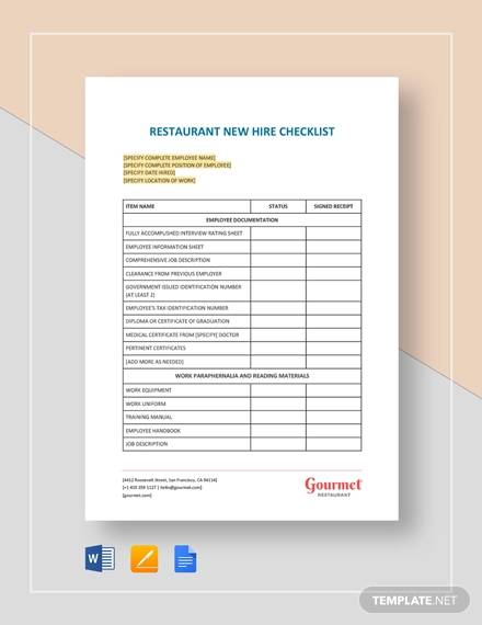 free 10  new hire checklist samples  u0026 templates in word