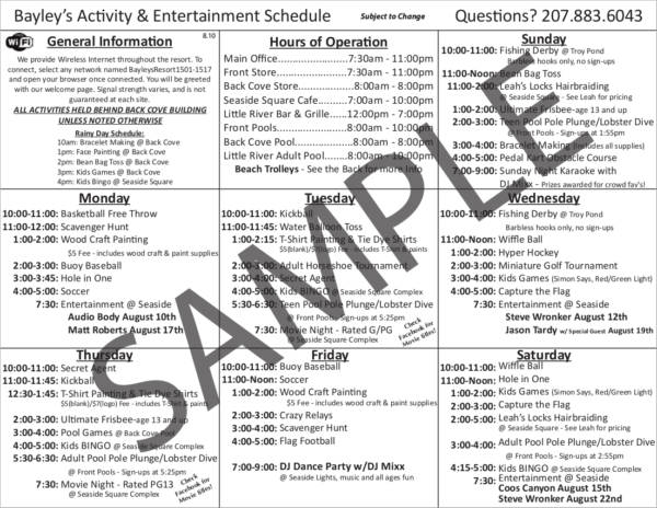 activity and entertaiment schedule sample