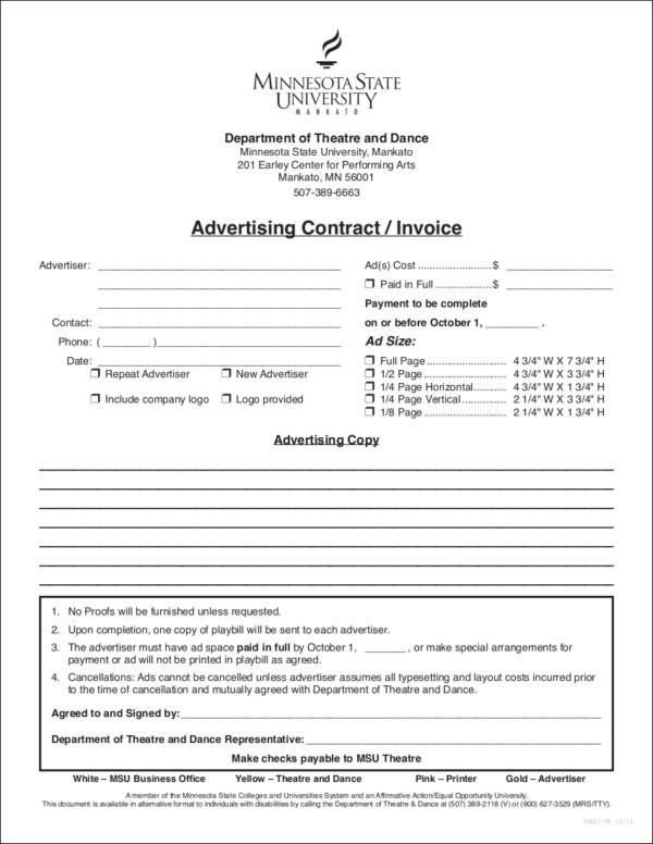 advertising contractinvoice template