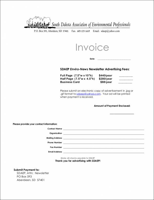 advertising invoice format