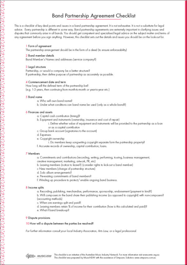 band partnership agreement checklist sample