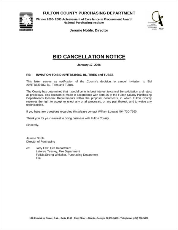 bid cancellation notice
