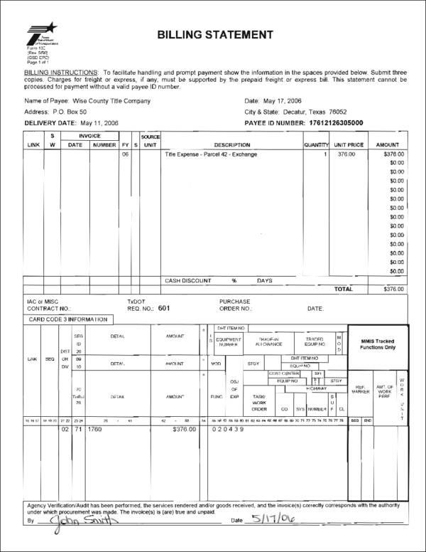 blank billing statement template