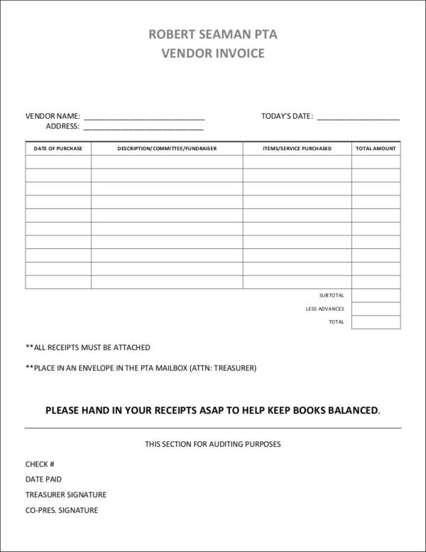 blank vendor invoice template