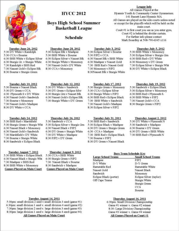 boys high school summer basketball game schedule sample