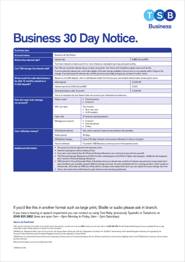 business 30 day notice