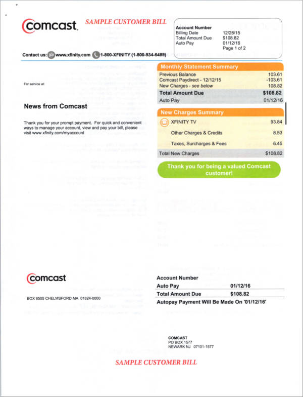 cable service sample billing statement
