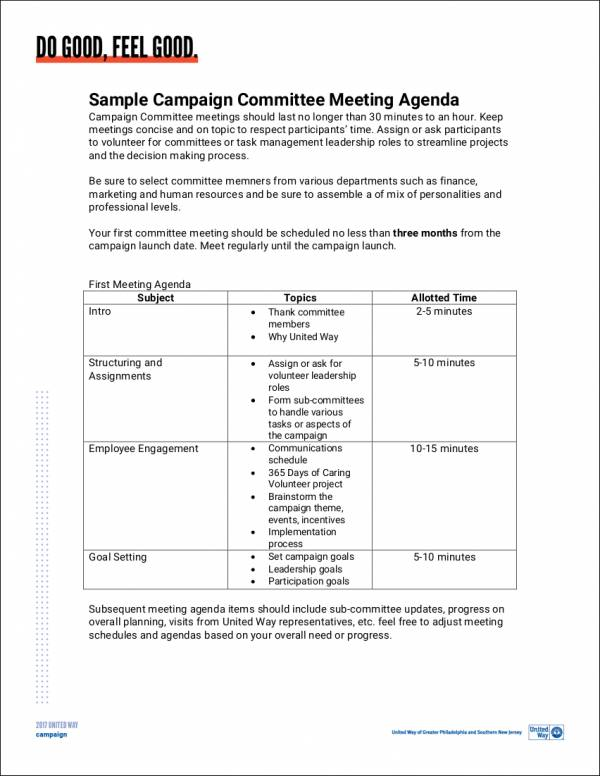 campaign committee meeting agenda sample