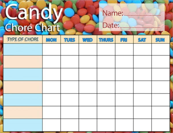 candy themed chore schedule template