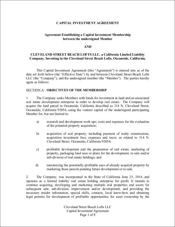 capital investment agreement contract sample