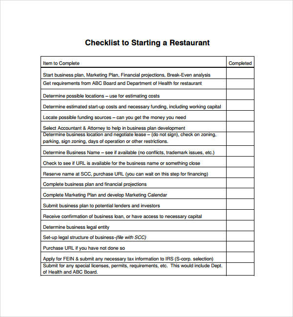 7 restaurant checklist samples templates pdf word sample templates. Black Bedroom Furniture Sets. Home Design Ideas