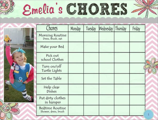 chore schedule sample for girls