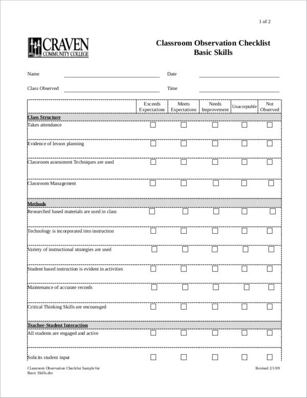 classroom observation checklist sample for basic skills