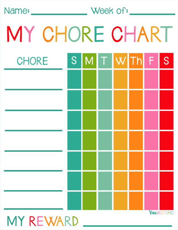 colorful chore schedule template