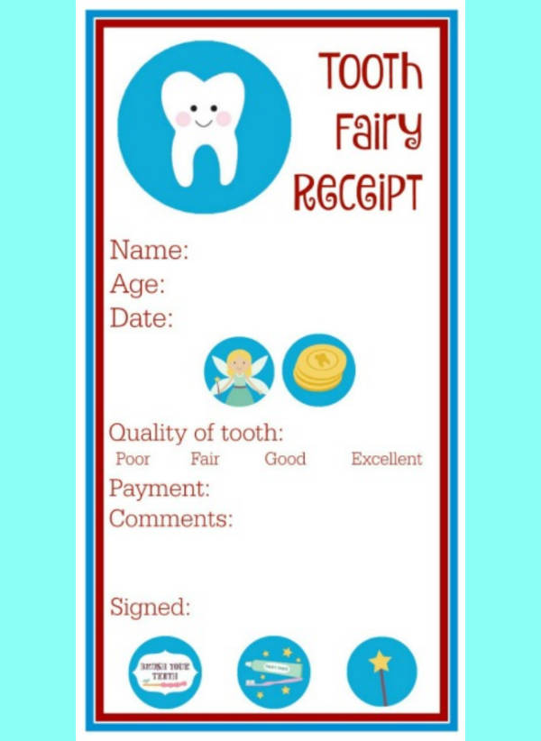 colorful tooth fairy receipt sample