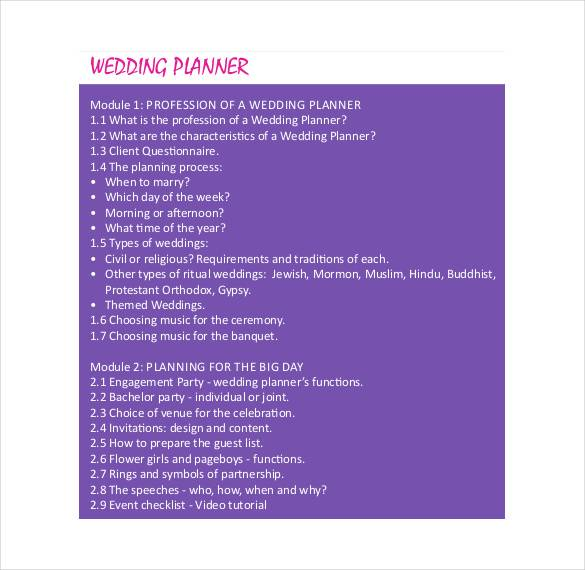 colorful wedding planner template