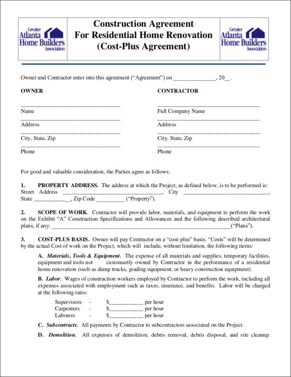 10 renovation contract samples templates sample templates for Builder contract for new home