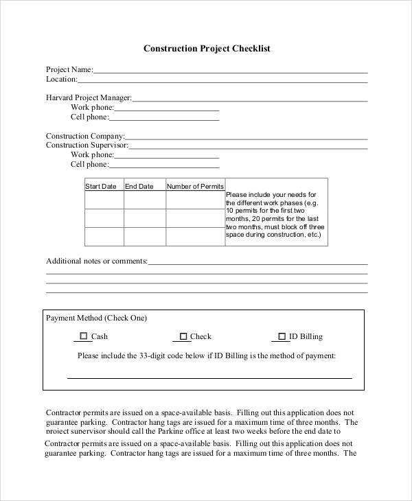 construction project checklist