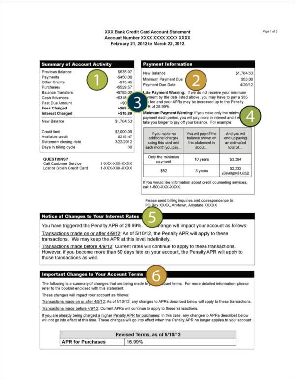 credit card sample billing statement