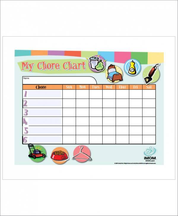 customizable chore schedule template