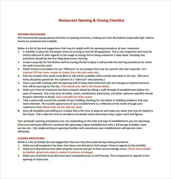 7 restaurant checklist samples templates pdf word