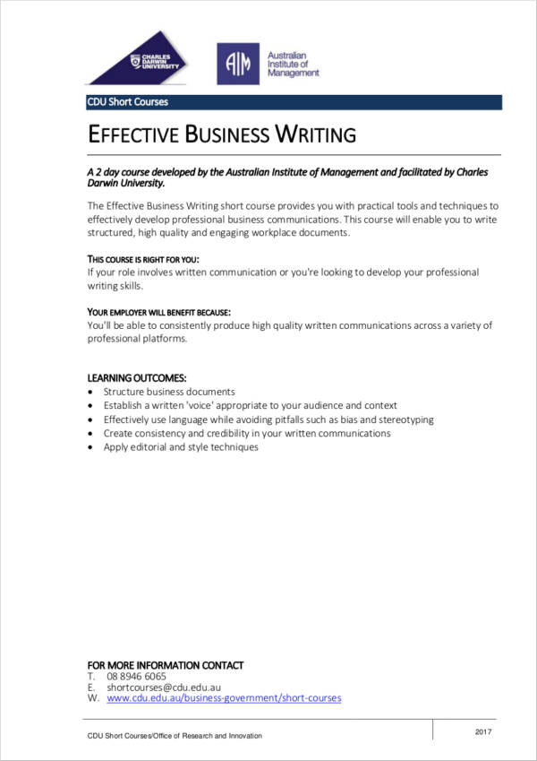 effective business writing outline sample