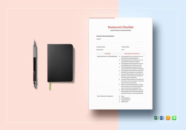 effective and simple restaurant checklist template
