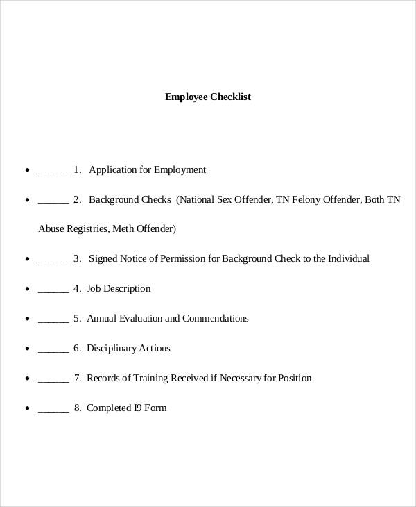 employee file checklist sample