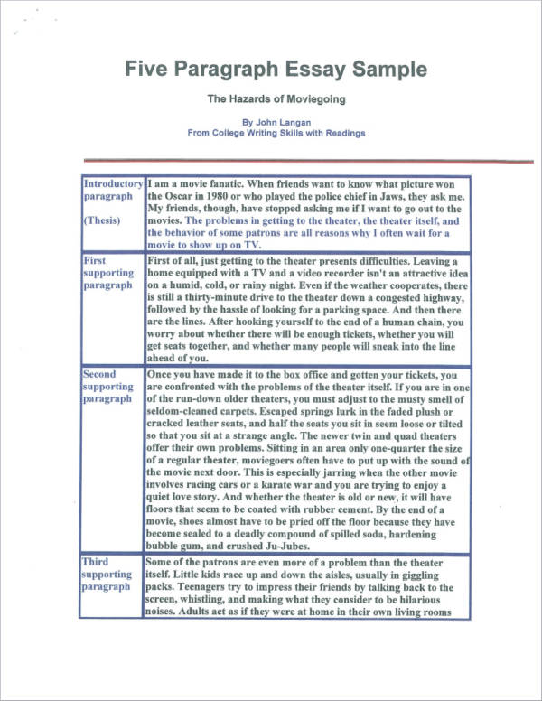 essay sample with five paragraphs