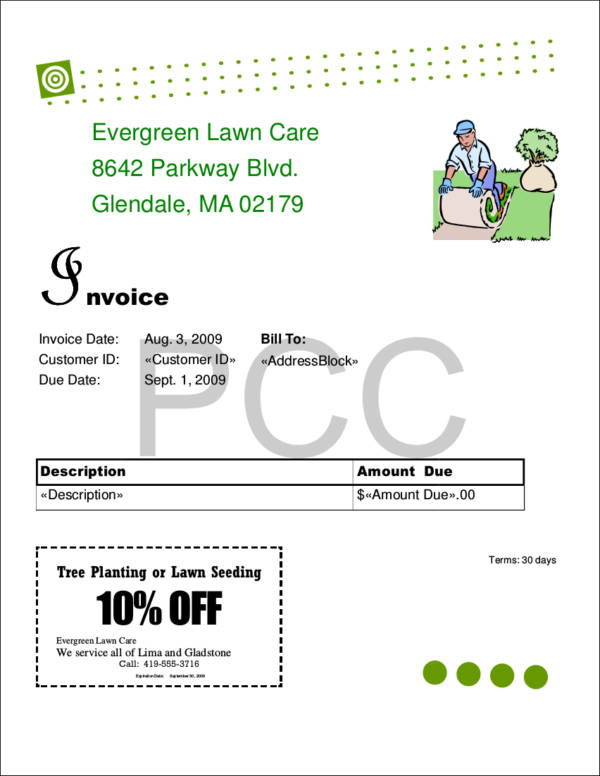 Lawn Care Invoice Samples Templates PDF Excel Word Sample - Blank lawn care invoice