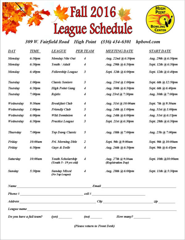 fall bowling game schedule sample