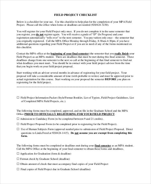field project checklist sample