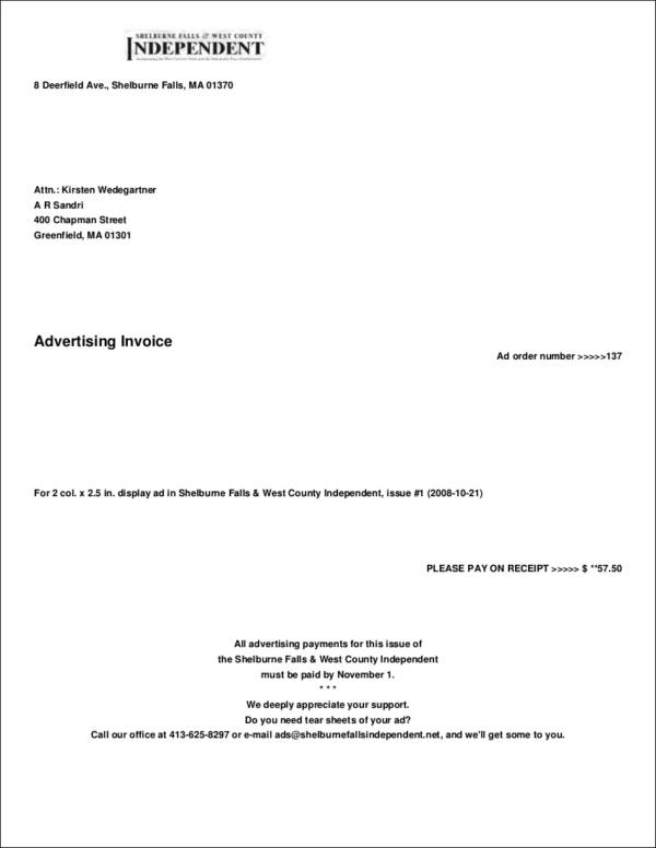 fillable advertising invoice template