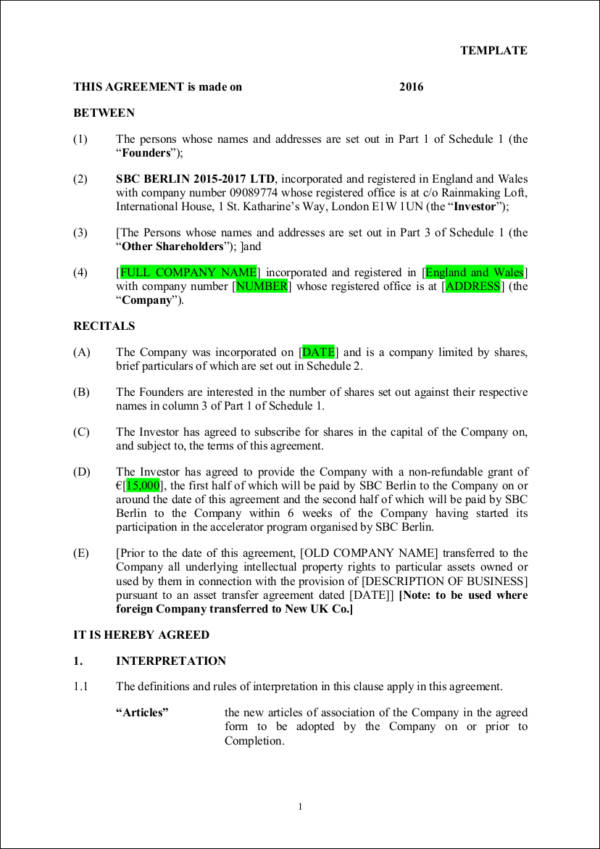 Investment Contract Samples  Templates  Pdf Word