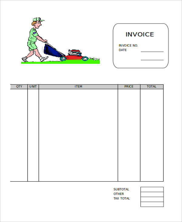 Fillable Lawn Care Invoice Template  Lawn Care Invoices