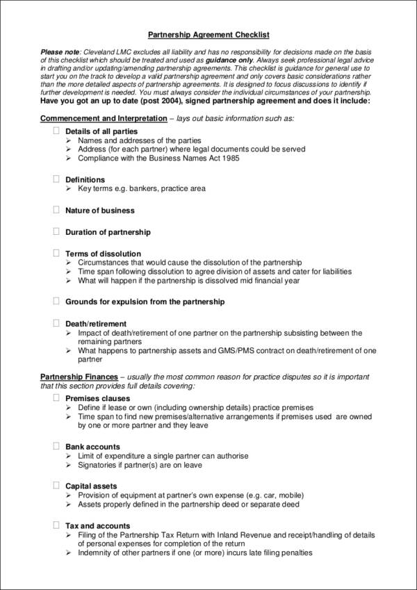 fillable partnership agreement checklist template