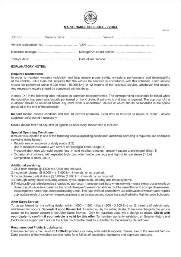 9 vehicle maintenance schedule templates word pdf